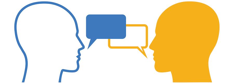 Two people having a conversation. Mentors, mentees. Self-disclosure.